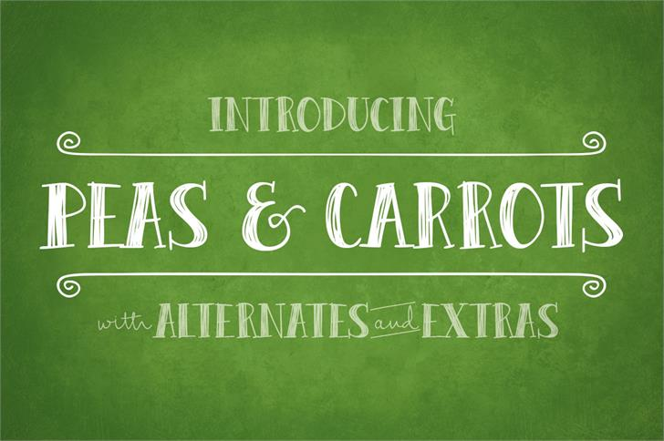 Peas & Carrots Font handwriting design