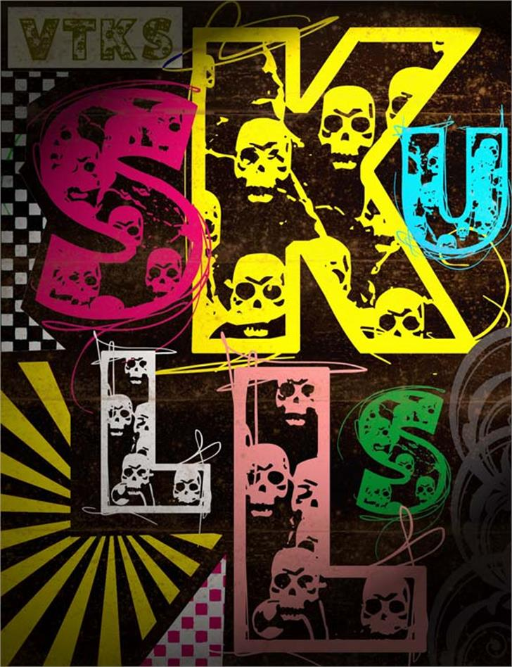 VTKS SKULLS Font cartoon drawing