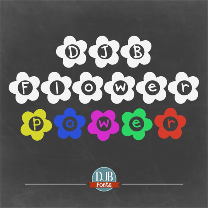 DJB Flower Power Font cartoon screenshot