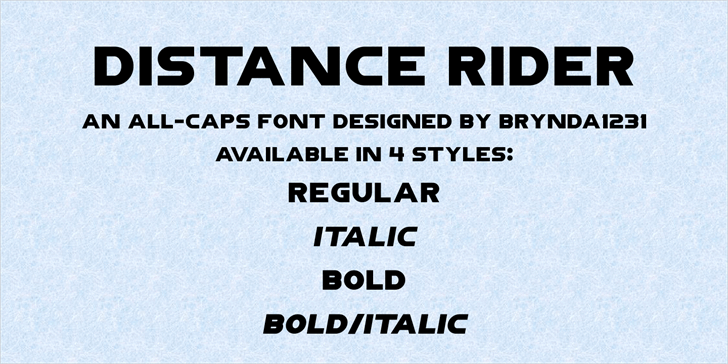 DistanceRiderDemo Font styles