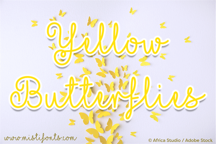 Mf Yellow Butterflies Font design typography