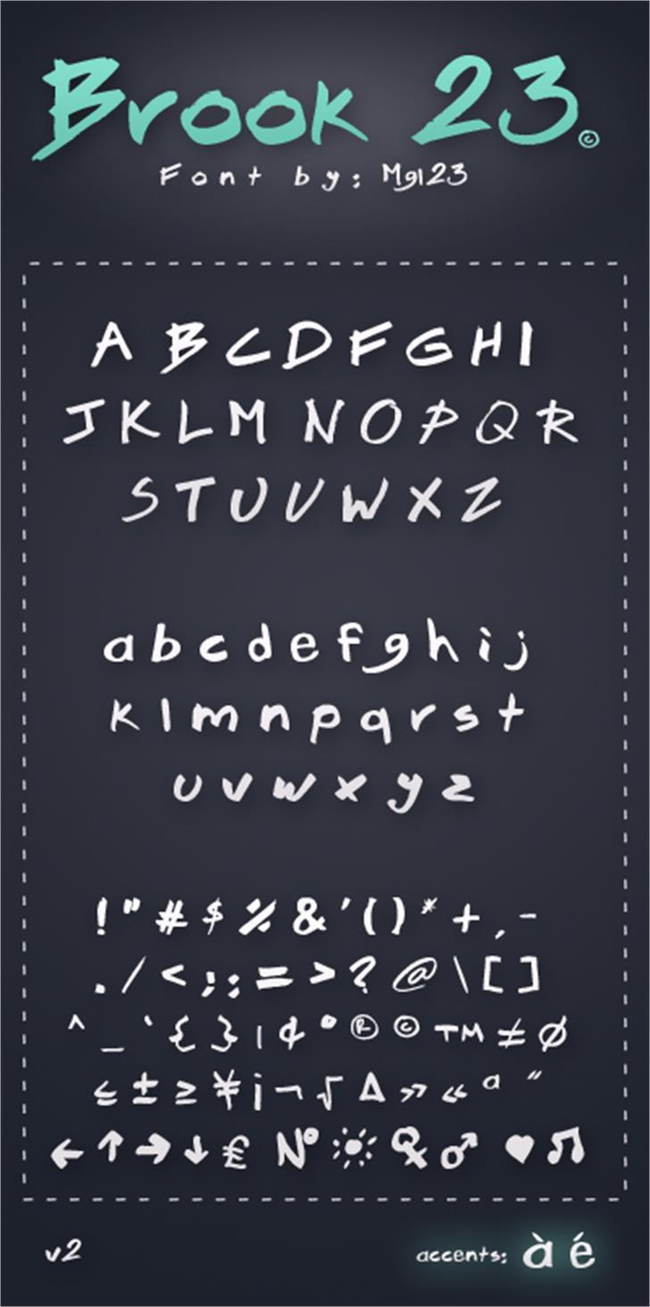 Brook 23 Font handwriting text