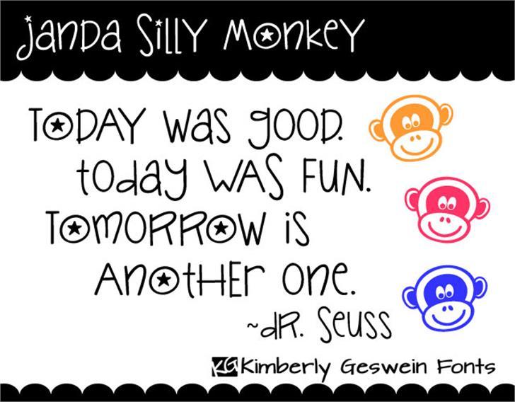 Janda Silly Monkey font by Kimberly Geswein