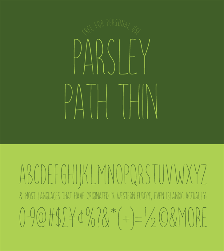 Parsley Path Thin Font handwriting design