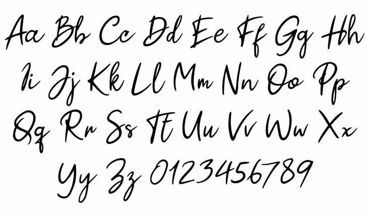 Paul Signature Font Letters Charmap