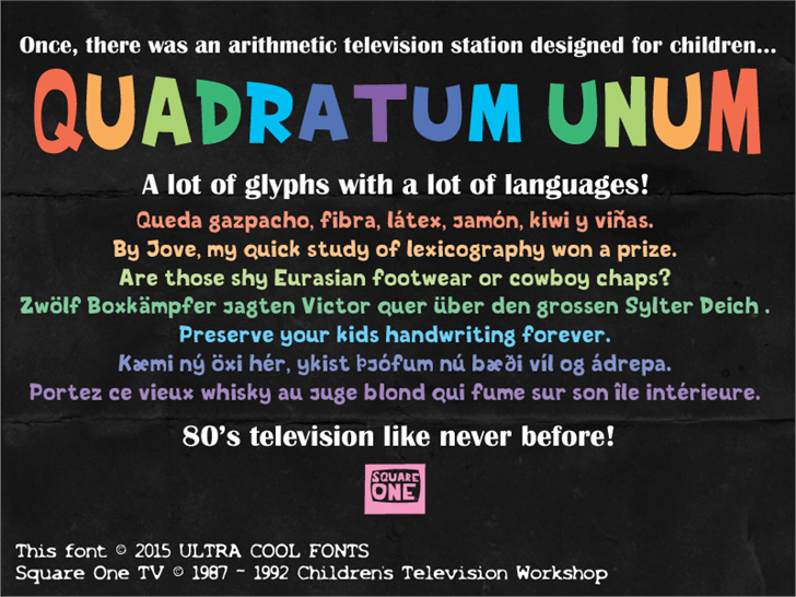 Quadratum Unum Font text screenshot