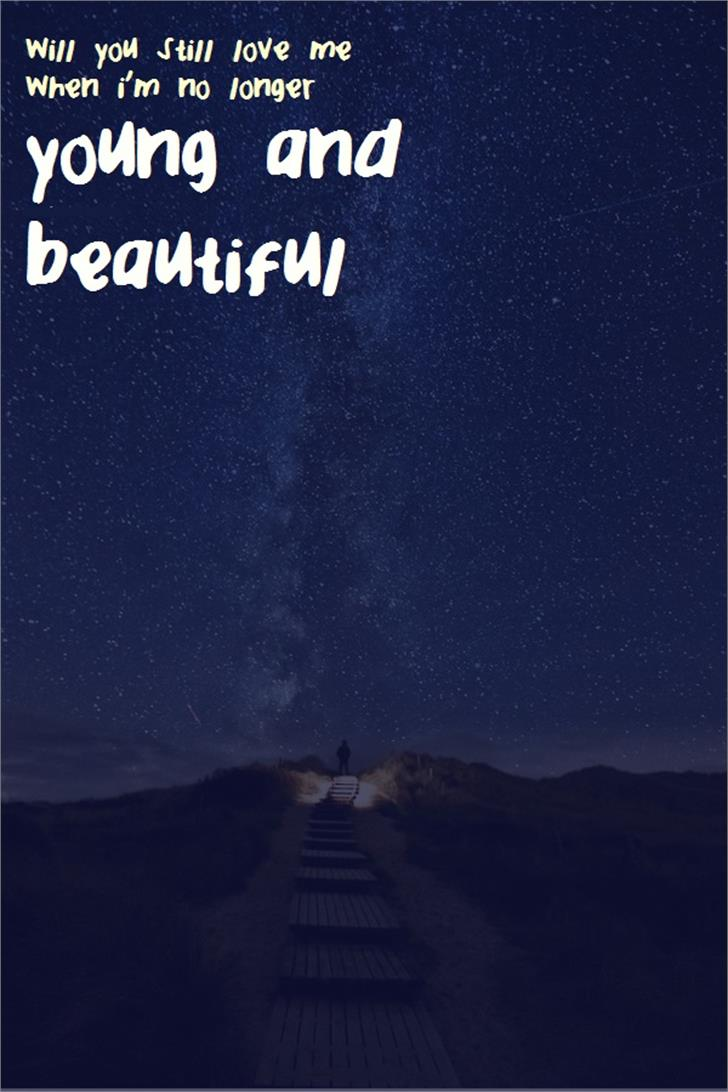 YoungandBeautiful Font sky moon