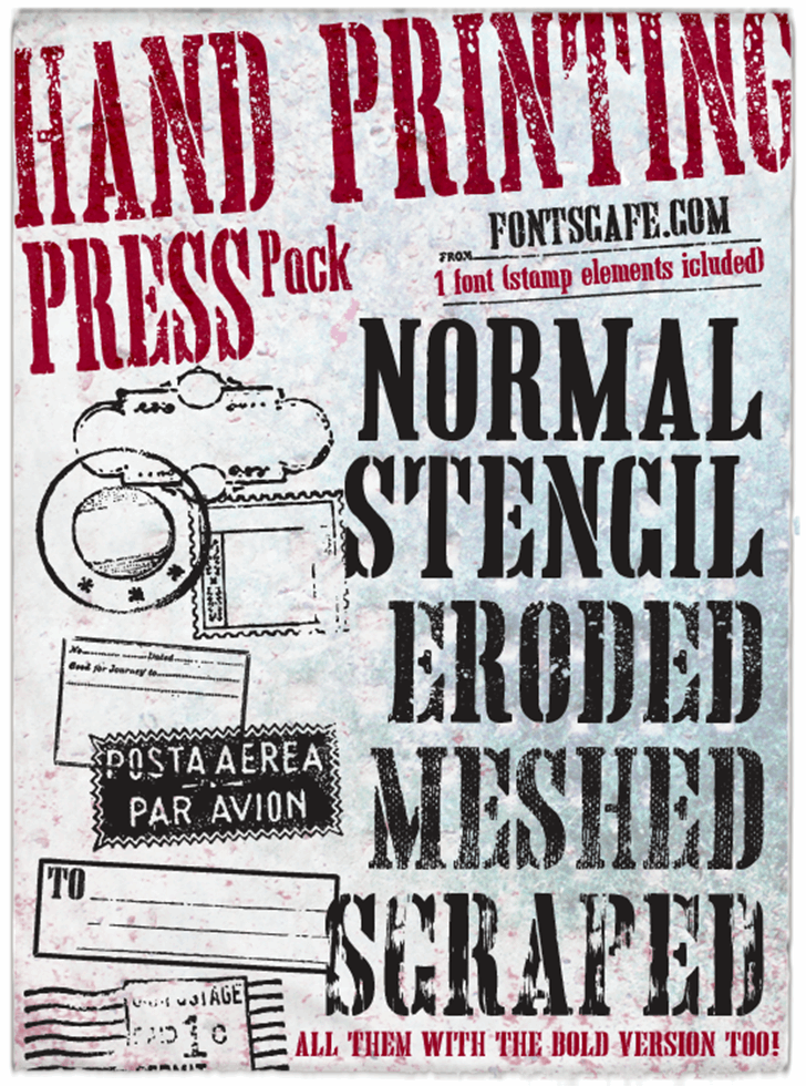 Hand Printing Press Eroded DEMO Font text poster
