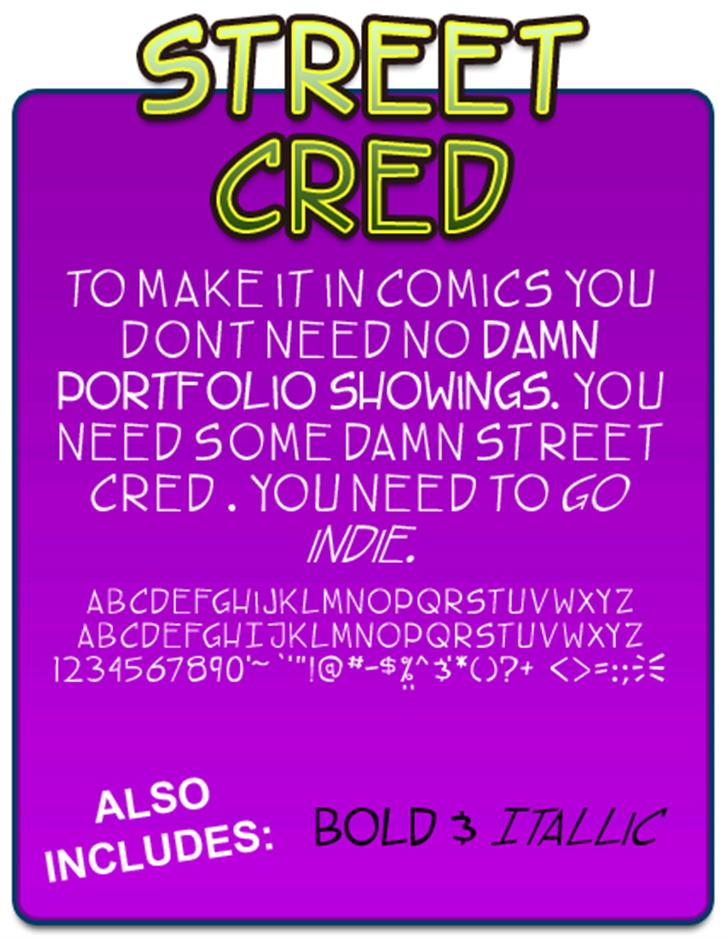 TBS street cred font by Press Gang Studios