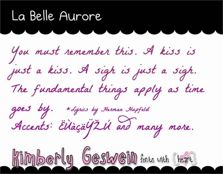 La Belle Aurore Font handwriting text
