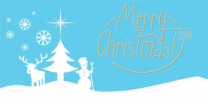 Sunny Merry Christmas Font cartoon illustration
