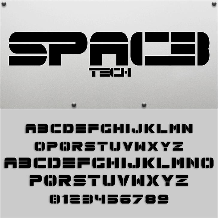 Spac3 tech Font design graphic