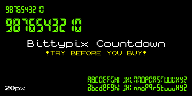 Bittypix Countdown font by Chequered Ink