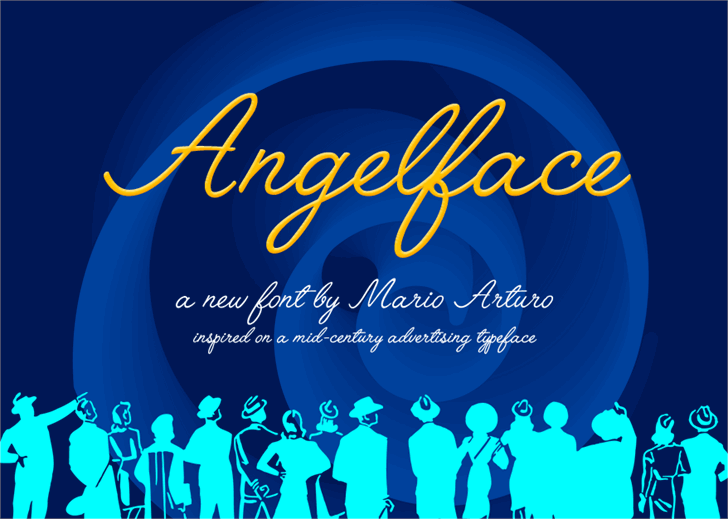 Angelface Font design graphic