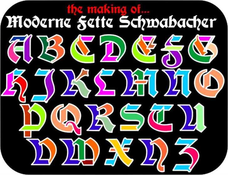 Moderne 3D Schwabacher Font design graphic