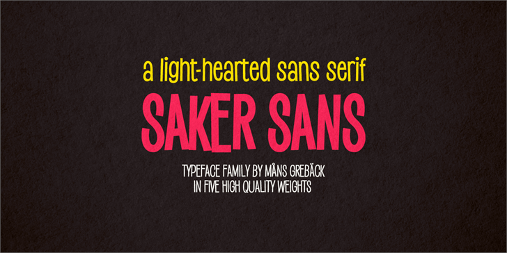Saker Sans Light PERSONAL USE Font design poster