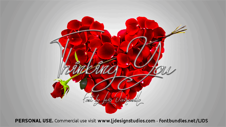 Thinking You Personal USE Font flower art