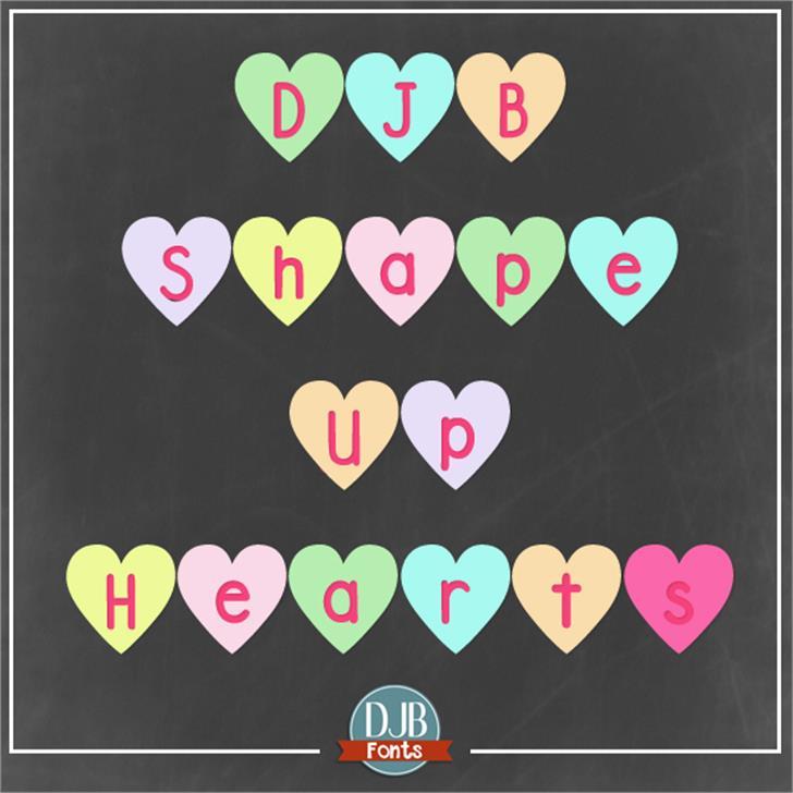 DJB Shape Up Hearts Font screenshot design