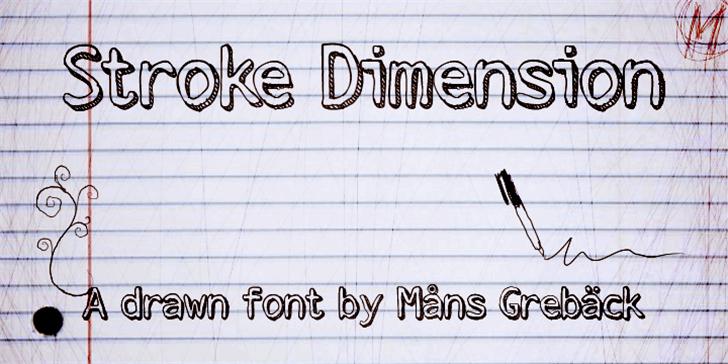Stroke Dimension Font handwriting text
