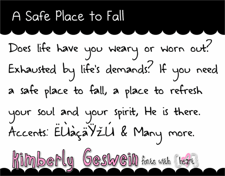 A Safe Place to Fall font by Kimberly Geswein