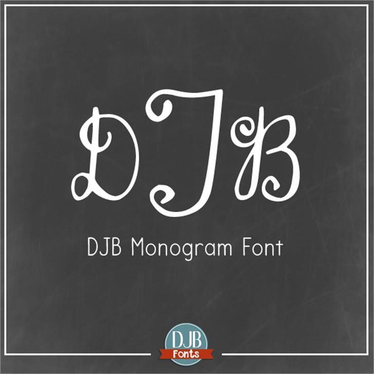 DJB Monogram Font text blackboard