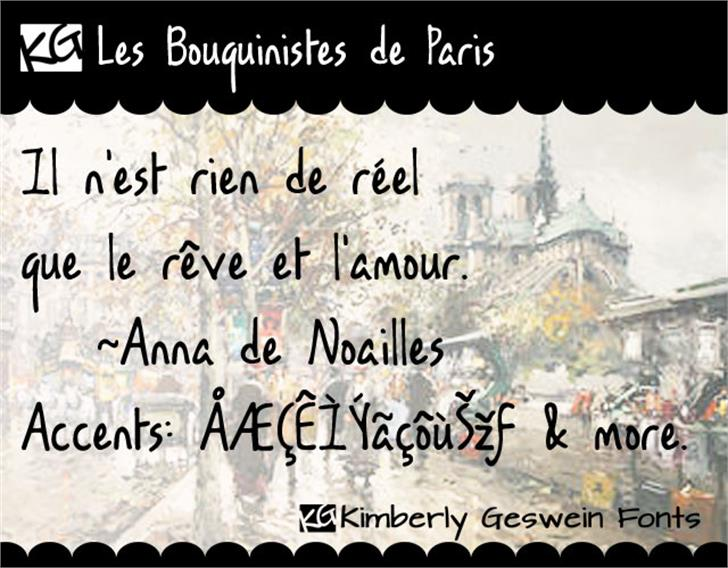 KG Les Bouquinistes de Paris Font text handwriting