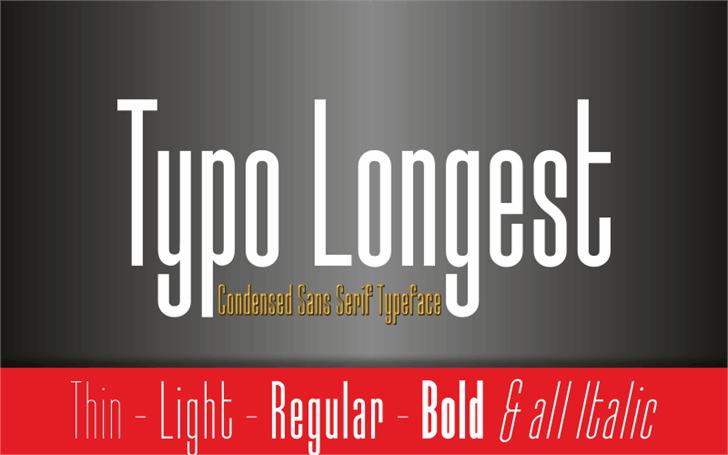 Typo-Longest Demo Font screenshot design