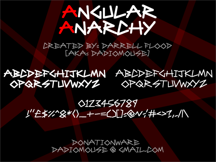 Angular Anarchy Font screenshot design