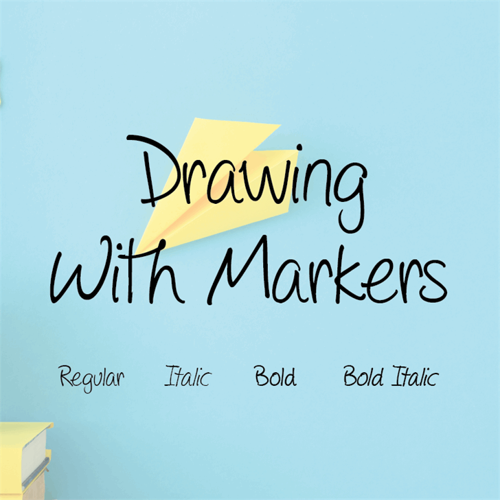 Drawing with markers Font handwriting text