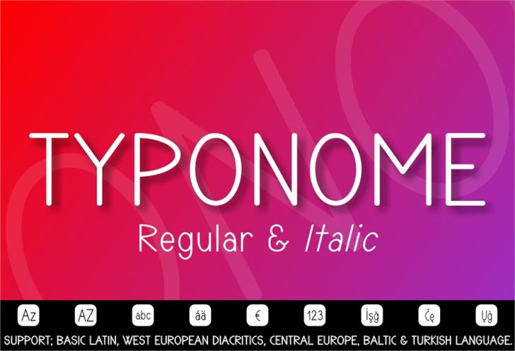TYPONOME Font screenshot design