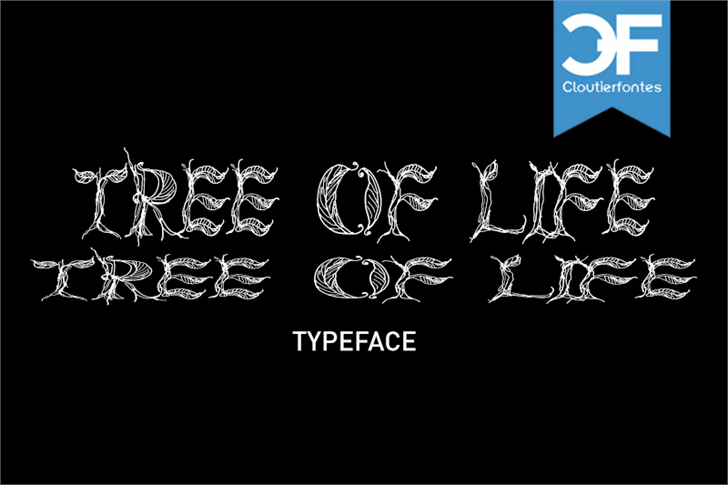 CF Tree of Life Font drawing cartoon