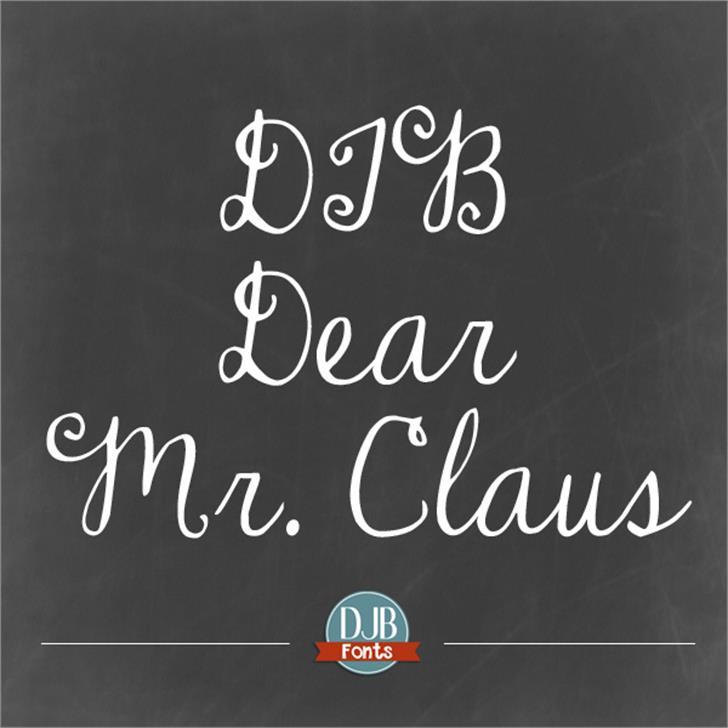 DJB Dear Mr Claus Font text blackboard