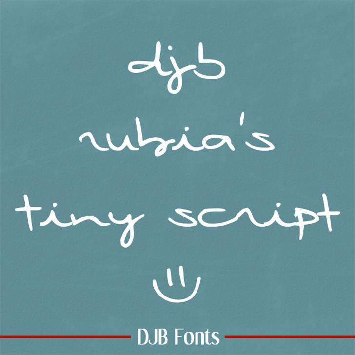 DJB Rubia's Tiny Script Font handwriting blackboard