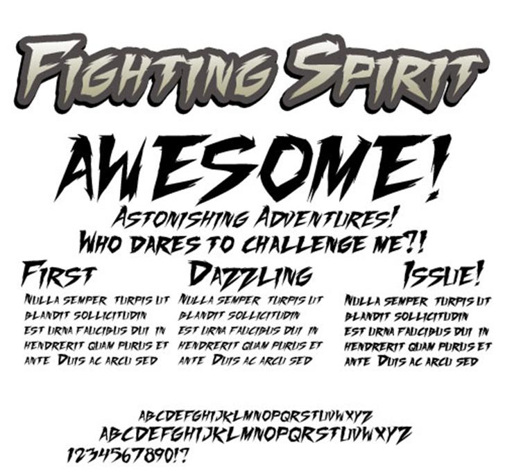 Fighting Spirit TBS Font text poster