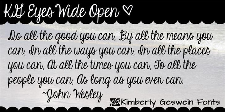 KG Eyes Wide Open font by Kimberly Geswein
