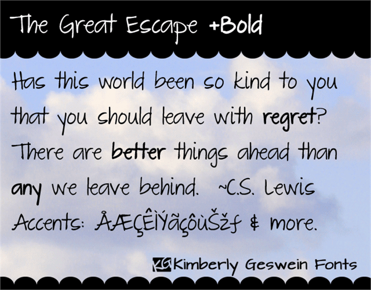 The Great Escape font by Kimberly Geswein