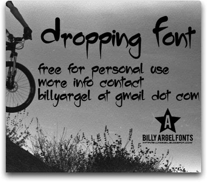 Dropping Font handwriting text
