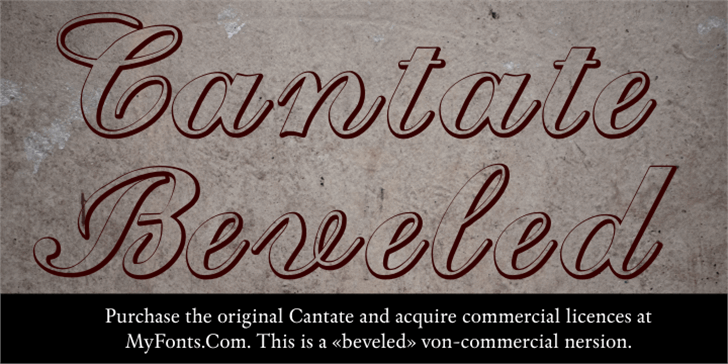 Cantate Beveled Font handwriting text