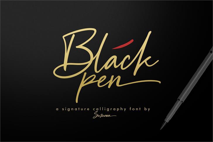 Black Pen Font handwriting design