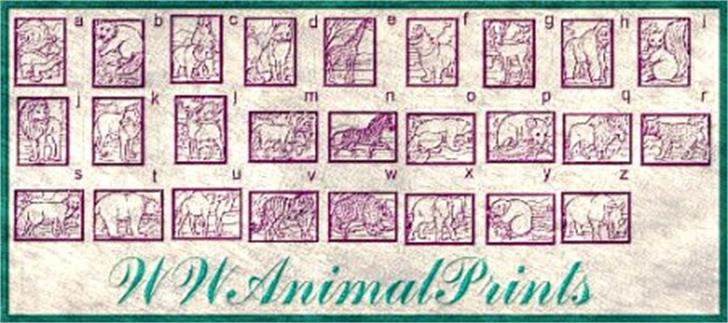 WWAnimalPrints Font handwriting stamp