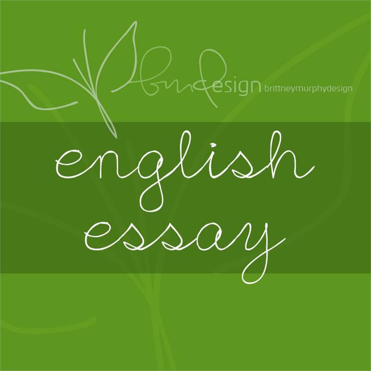 English Essay Font handwriting design