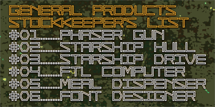 General Products Font example