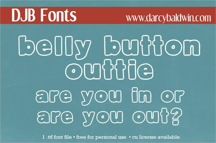 DJB Belly Button-Outtie Font text screenshot
