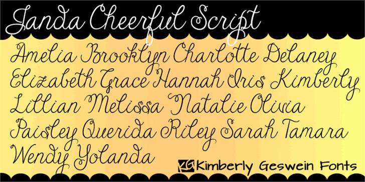 Janda Cheerful Script font by Kimberly Geswein