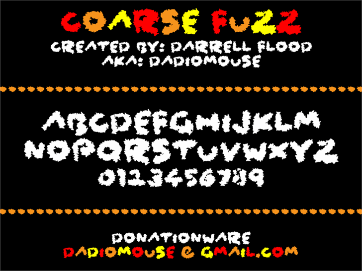 Coarse Fuzz Font screenshot design
