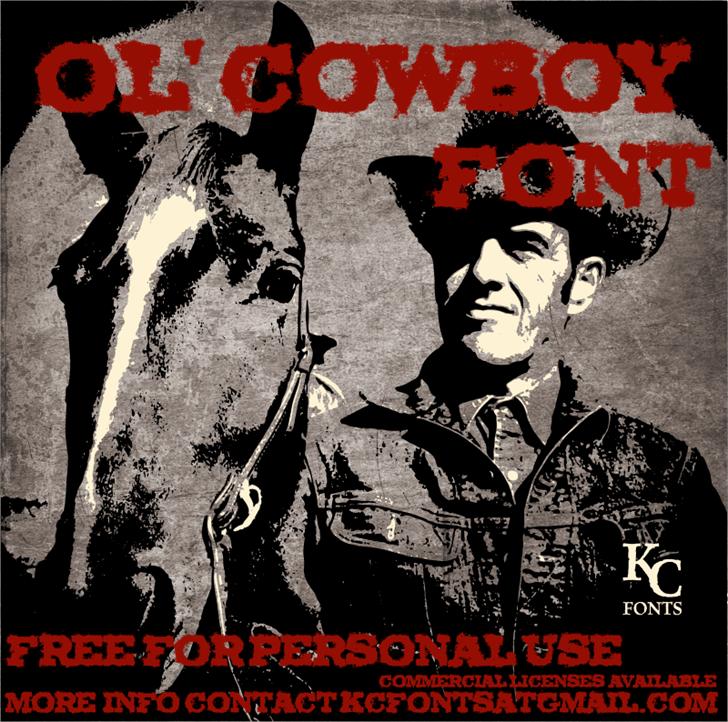 Ol' Cowboy Font text book