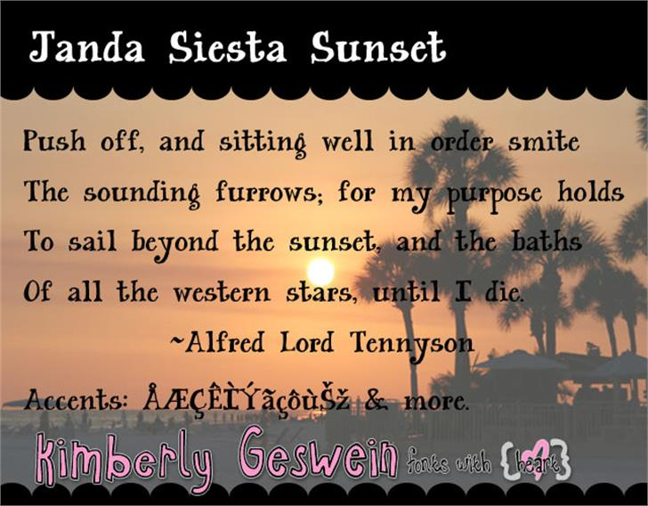 Janda Siesta Sunset Font text screenshot