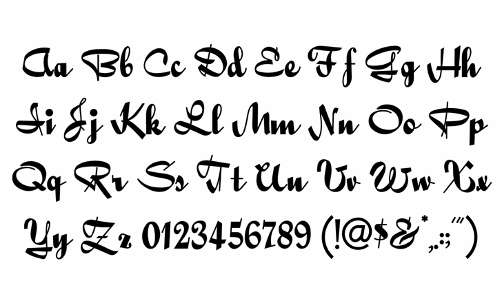 QuigleyWiggly Font Letters Charmap