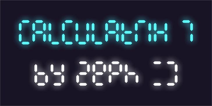 Calculatrix 7 Font clock screenshot