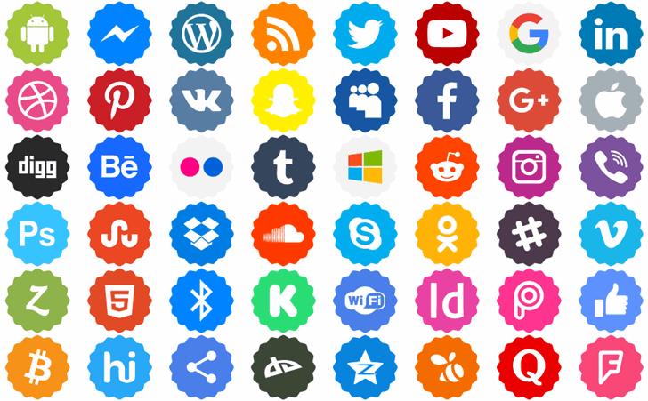 Social Networks Color Font illustration pattern